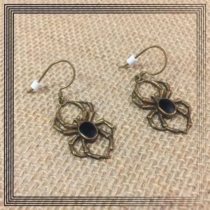 VTG Copper Spider earrings with hematite center.
